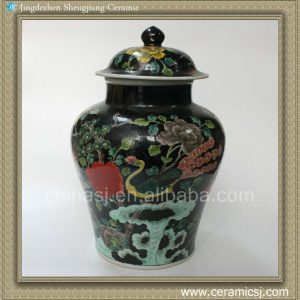 RYQQ18 15inch Hand painted Qing dynasty reproduction Plain tricolour Ceramic Ginger Jar