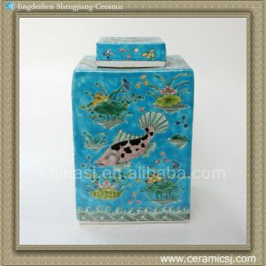 RYQQ19 12inch Qing dynasty reproduction Plain tricolour Ceramic Square Jar
