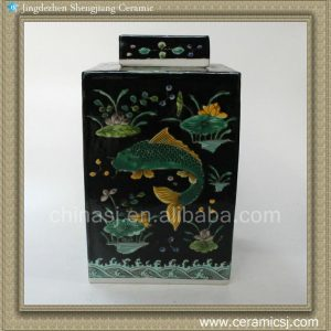 RYQQ20 12inch Qing dynasty reproduction Plain tricolour Fish design Ceramic Square Jar