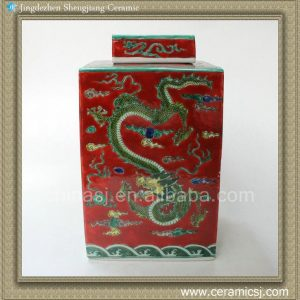 RYQQ21 12inch Plain tricolour Dragon design Ceramic Square Jar
