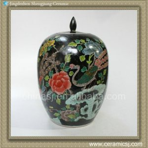 RYQQ25 13inch Qing dynasty reproduction Plain tricolour Ceramic Melon Jar