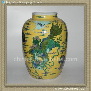 RYQQ27 14inch Hand painted lion design Ceramic Vase