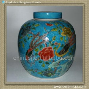 RYQQ28 Flower bird design Qing dynasty reproduction Ceramic Melon Jar