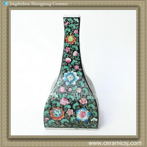 RYQQ31 15inch Qing dynasty reproduction floral design Square Ceramic Vase