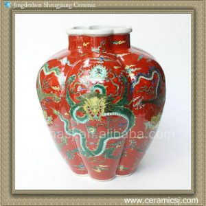 RYQQ32 14inch Plain tricolour Red Dragon Ceramic Vase