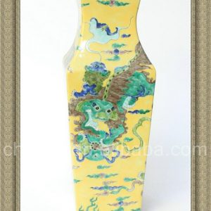 RYQQ33 17inch Hand painted Square Lion design Ceramic Vase