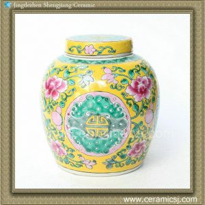 RYQQ34 7.5inch Hand painted Floral Melon Jar