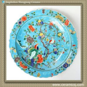 RYQQ37 17.5inch Chinese Hand painted Flower bird design Porcelain Plate