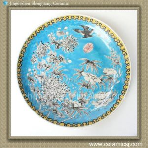 RYQQ42 17inch Flower bird design Chinese Porcelain Charger