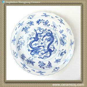 RYQQ43 17inch Hand painted Dragon design Blue and white Porcelain Charger