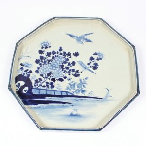 RZAJ12 Set of two B/W Plate Bowl, Hand Painted , Floral bird and landscape design