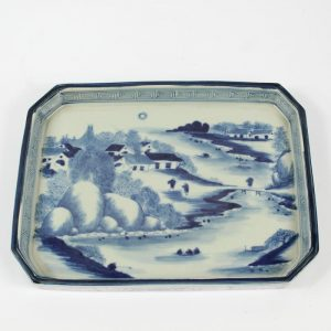 RZAJ13 11inch Square Hand Painted Blue and white planter, landscape and floral design