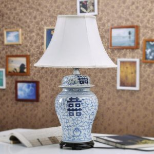 TYLP109 Hand painted Blue and white Happiness Table Lamp