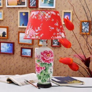 TYLP114 Red flower design Porcelain Table Lamp