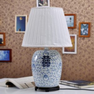 TYLP17 Blue and white Happiness Melon Jar Table Lamp