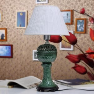 TYLP29 Green Hand Carved Porcelain Table Lamp