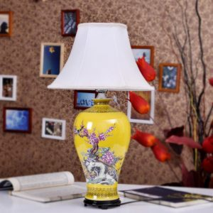 TYLP34 Porcelain Yellow flower bird design Table Lamp