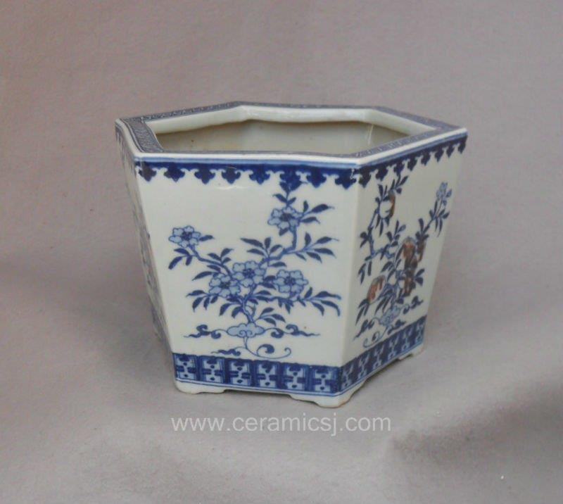 WRYSZ03 Blue and white peach design planter