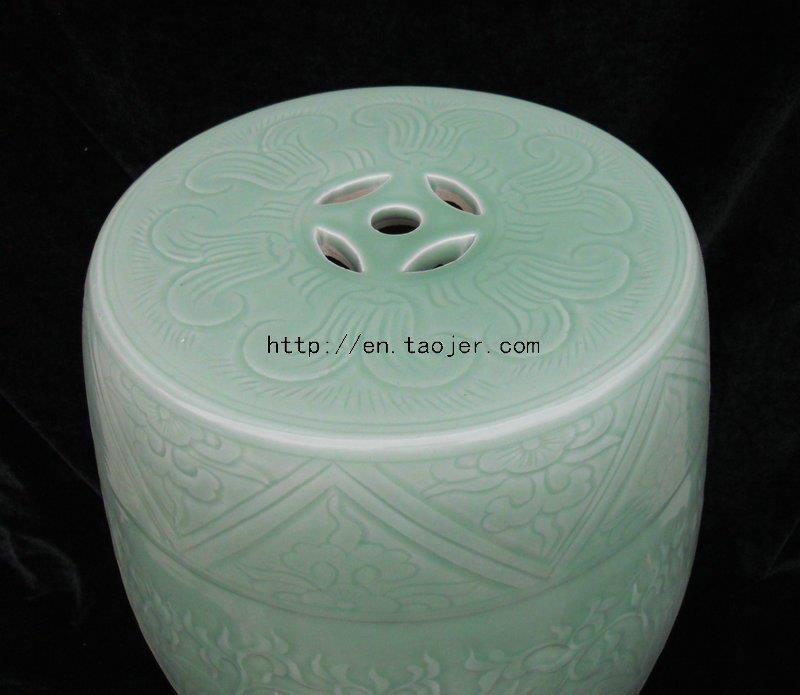 WRYMA02 Green celadon engraved Ceramic Garden Stool