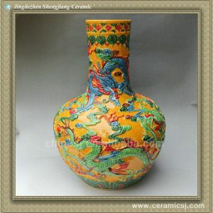 RYSX10 hand carved ceramic dragon vase