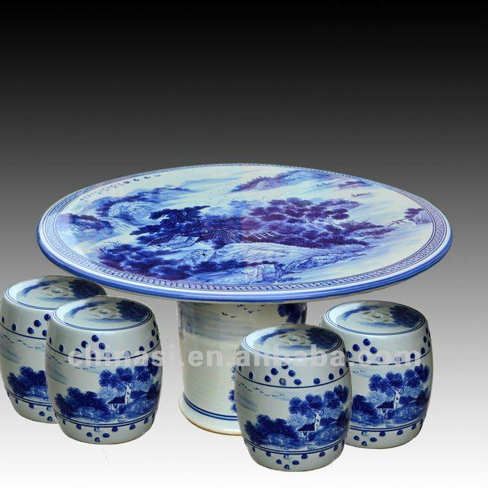 Antique Blue And White Ceramic Garden Stool Table Set Ryay257 Jingdezhen Shengjiang Ceramic Co