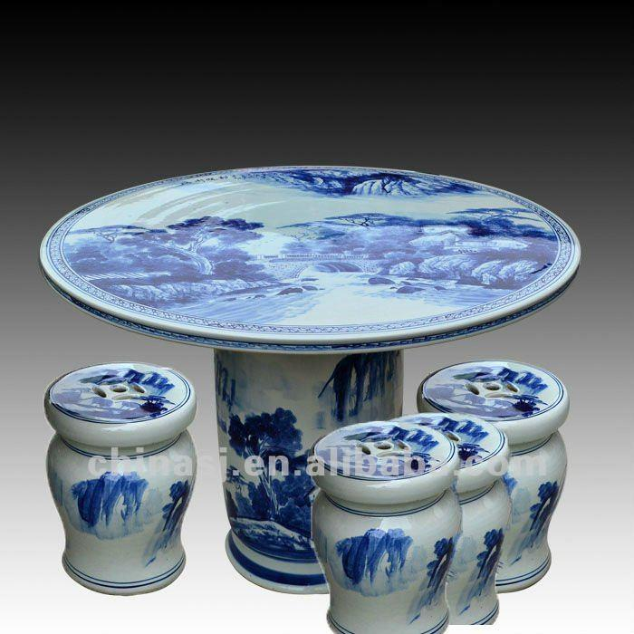Antique Blue And White Ceramic Garden Stool Table Set Ryay258 Jingdezhen Shengjiang Ceramic Co