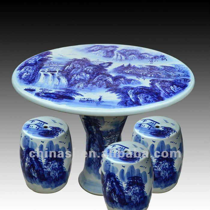 Antique Blue And White Ceramic Garden Stool Table Set