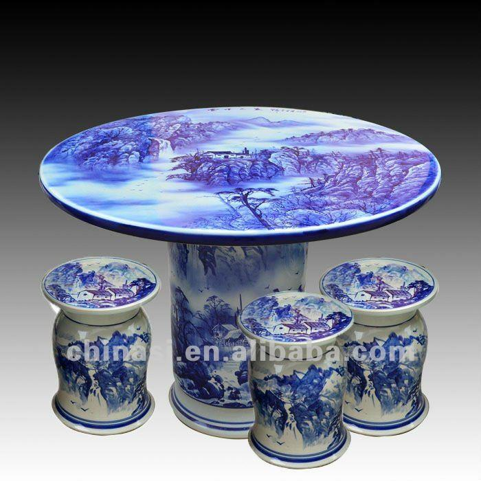 Antique Blue And White Ceramic Garden Stool Table Set Ryay261 Jingdezhen Shengjiang Ceramic Co