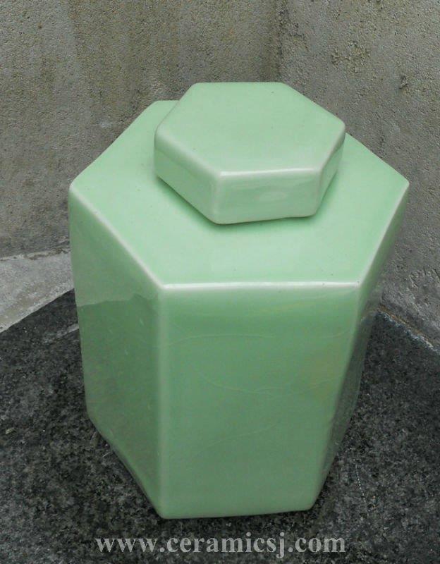WRYKB64 Green Crackled Hexagonal Jar