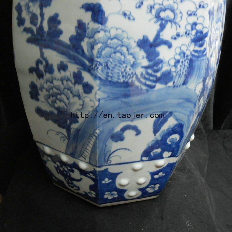 Chinese Blue And White Ceramic Garden Stool WRYLU01