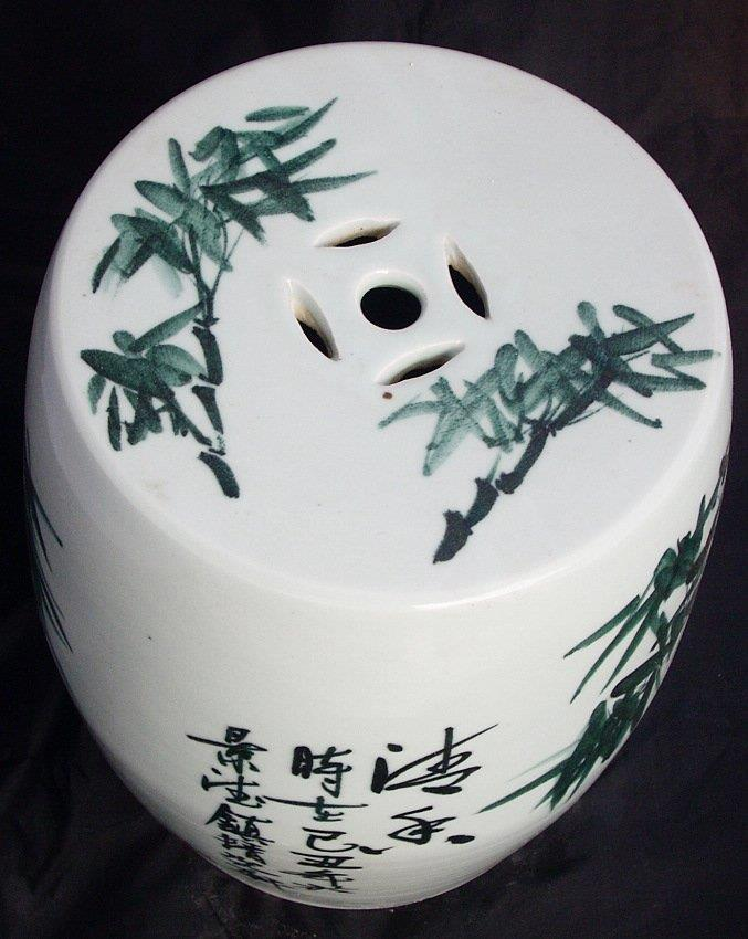 Ceramic Garden Stool Chinese with bamboo design WRYAY206