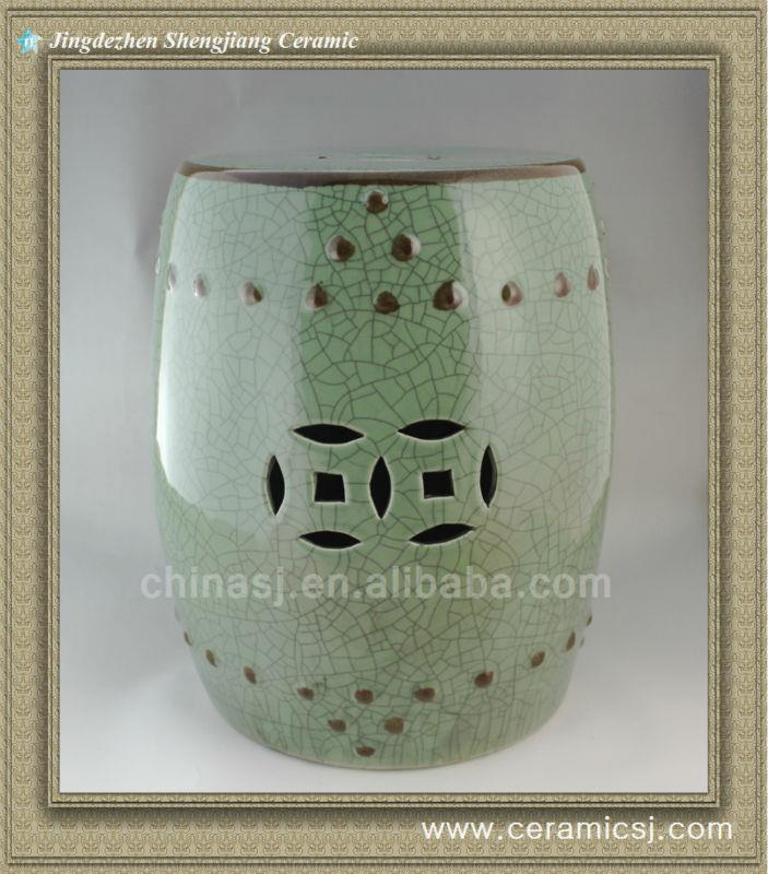 WRYHD14 Green crackle Ceramic Garden Stool