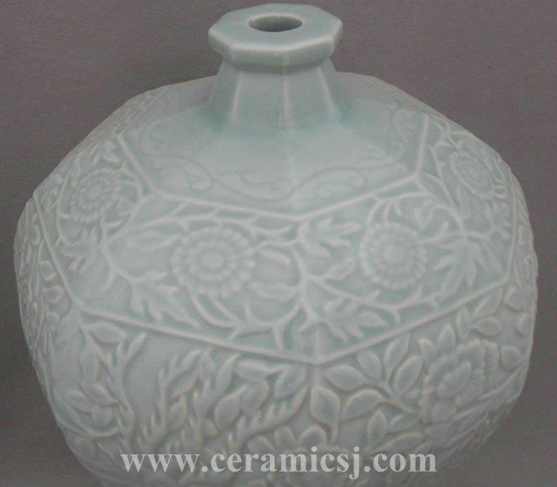 WRYPL10 Pale Celadon Blue Porcelain Meiping Vase