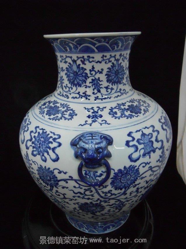 WRYJU02 Oriental hand painted Blue and White Ceramic Flower Vase