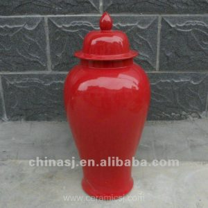 "WRYNQ26 H25"" Red ceramic Temple Jar"