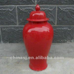 "WRYNQ26 H25"" Red ceramic Temple Jar"
