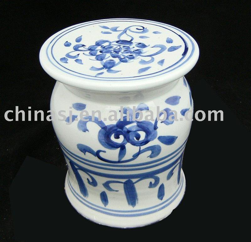 blue and white Ceramic Garden Seat floral WRYAZ220