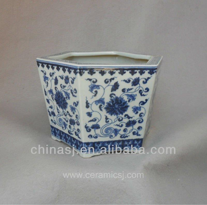 blue white ceramic flower pot WRYSZ02