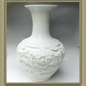 RYSX09 hand carved ceramic white vase