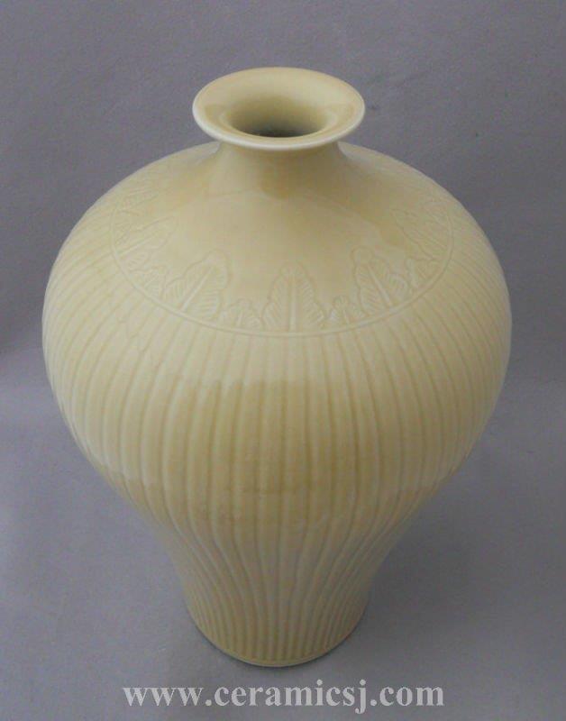 WRYMA35 Pale Yellow Embossed Ceramic Vase