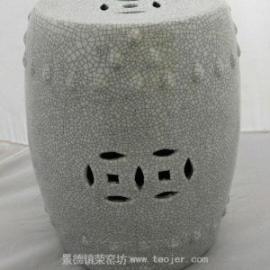 WRYHE15 White Crackled Ceramic Garden Stool