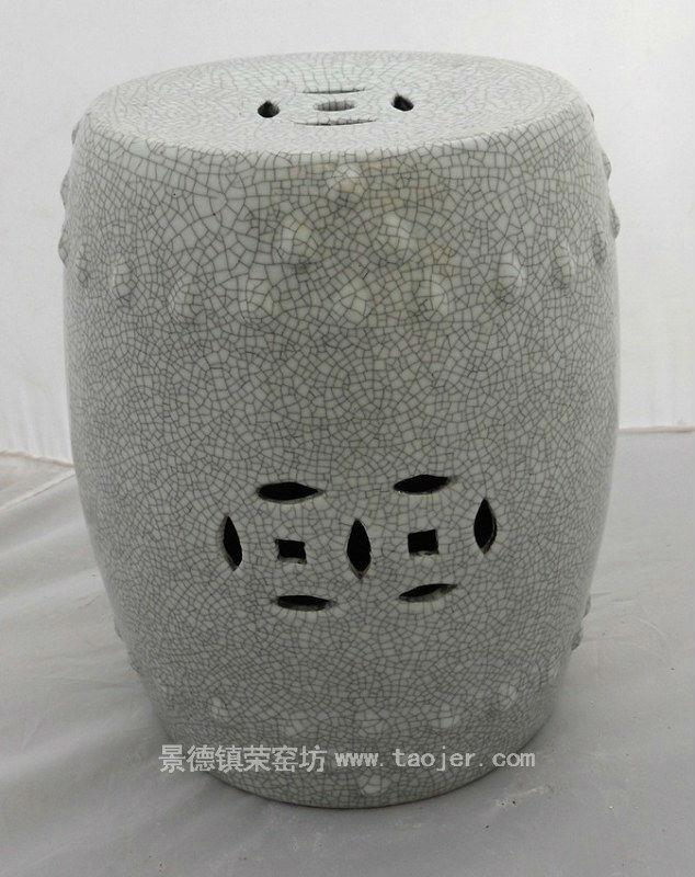 WRYHE15 White Crackled Ceramic Garden Stool