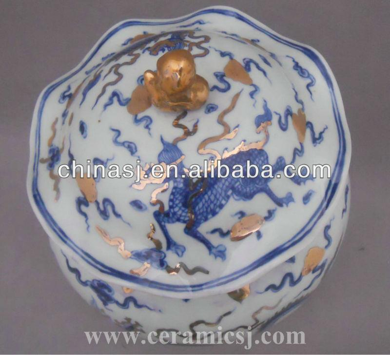 antique Blue and white dragon porcelain jar WRYPJ10
