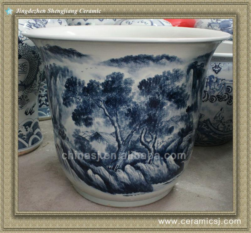 RYWY07 35.5inch Hand painted Chinese Scenery Flower Pots