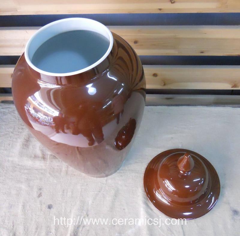 55cm chocolate color ceramic temple jar with cover WRYKB28
