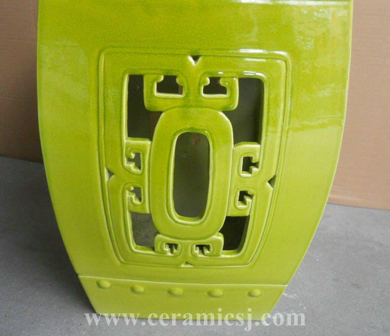 Big green square ceramic Garden Stool WRYDB22
