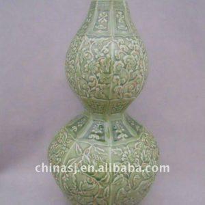 WRYPL08 hand Engraved celadon Porcelain Gourd Vase