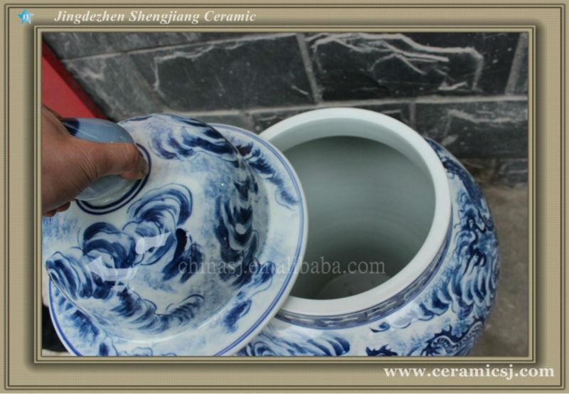 RYUJ14 Hand painted porcelain blue and white dragon ginger jar