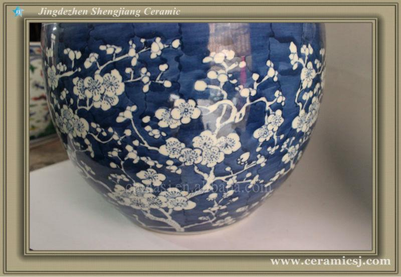 RYWG06 High quality hand painted blue and white plum blosoom ceramic outdoor planters