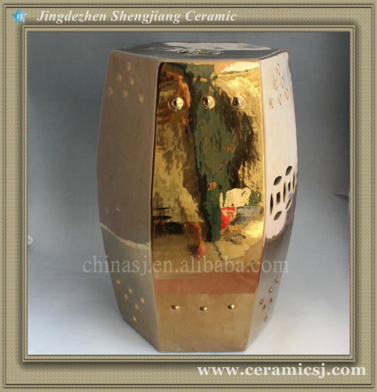 hexagon golden Ceramic Garden Stool WRYIR57